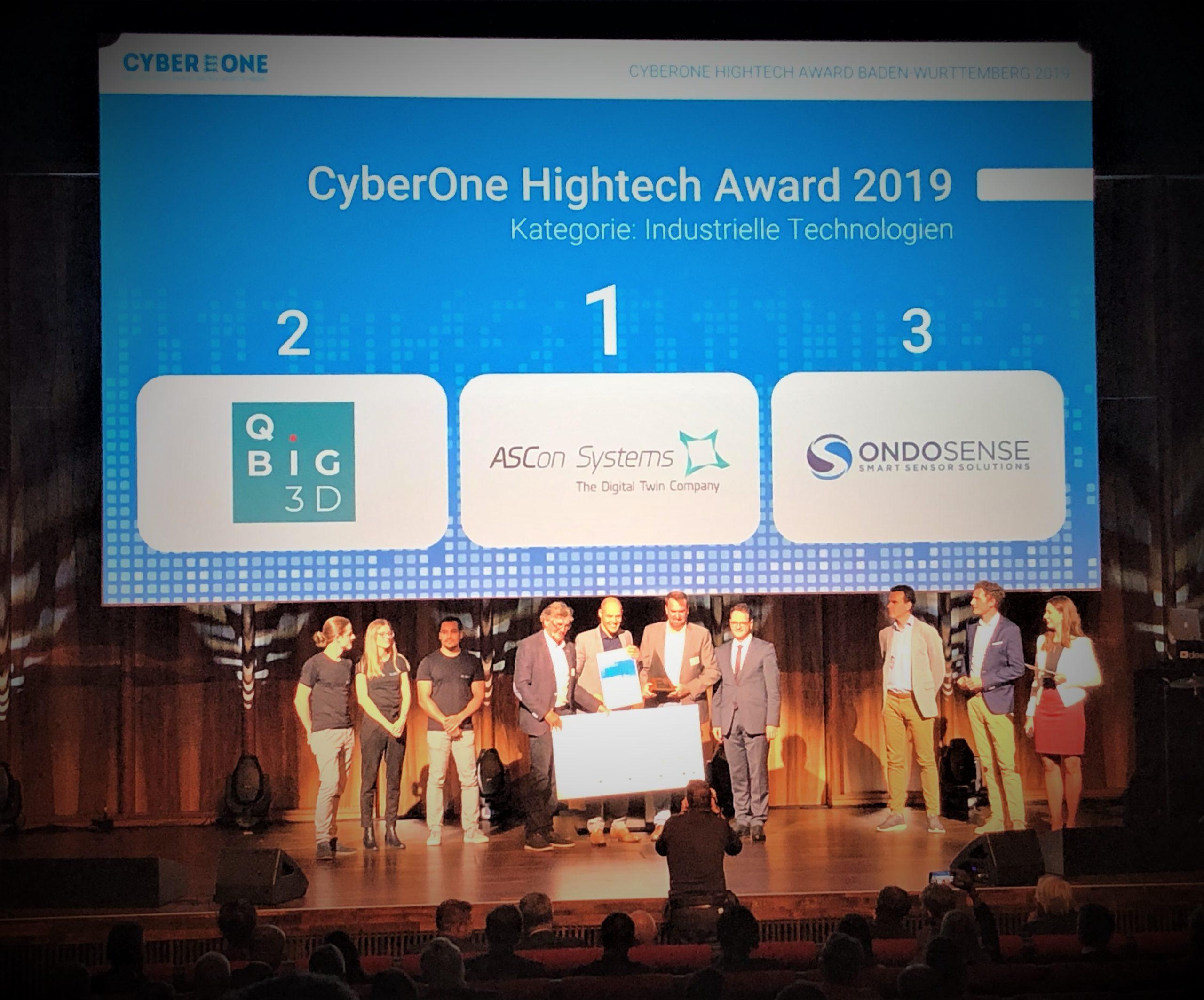 ASCon Systems ist Gewinner des CyberOne Hightech Awards 2019