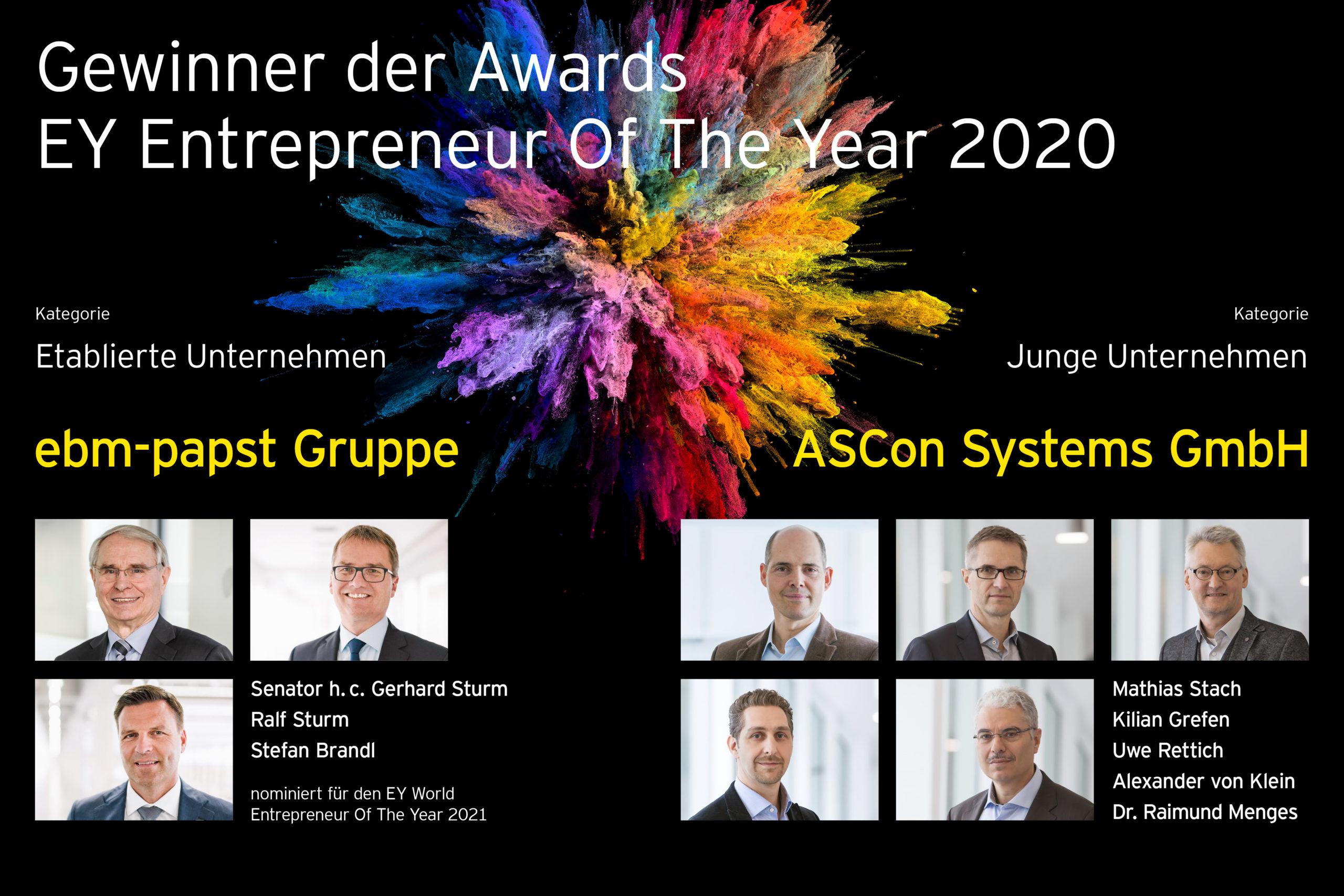 Gewinner des EY Entrepreneur of the Year 2020 in der FAZ